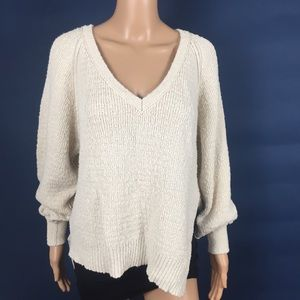 Free People Ivory V-Neck Asymmetrical Sweater